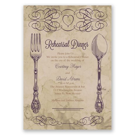 Elegant Dining Rehearsal Dinner Invitation