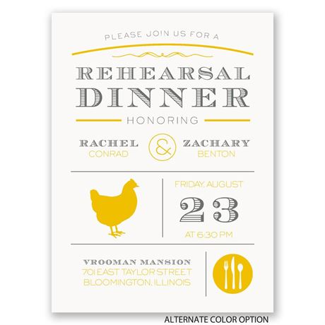 "Chef""s Choice - Chicken - Petite Rehearsal Dinner Invitation"