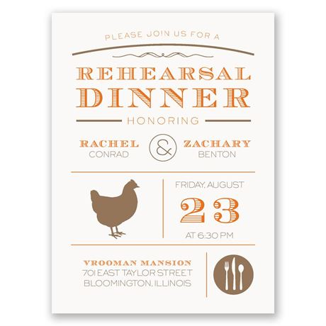 "Chef""s Choice Chicken Petite Rehearsal Dinner Invitation"