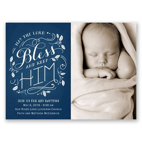 Bless Him Petite Baptism Invitation
