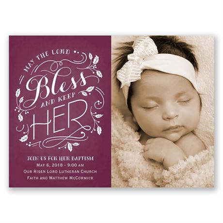 Bless Her - Petite Baptism Invitation