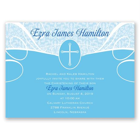 Vintage Faith Petite Baptism Invitation