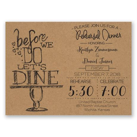On Display Petite Rehearsal Dinner Invitation