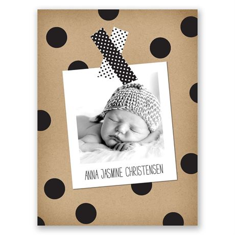 Dots and Washi Petite Birth Announcement