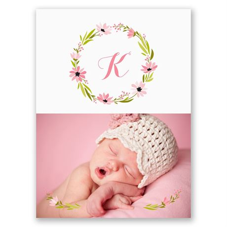 Fetching Flowers Petite Birth Announcement