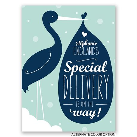 Stork and Baby - Petite Baby Shower Invitation
