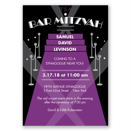 Red Carpet - Bar Mitzvah Invitation