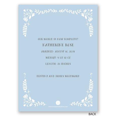 Floral Swirl - Petite Birth Announcement