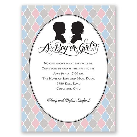 Modern Vintage Petite Gender Reveal Invitation