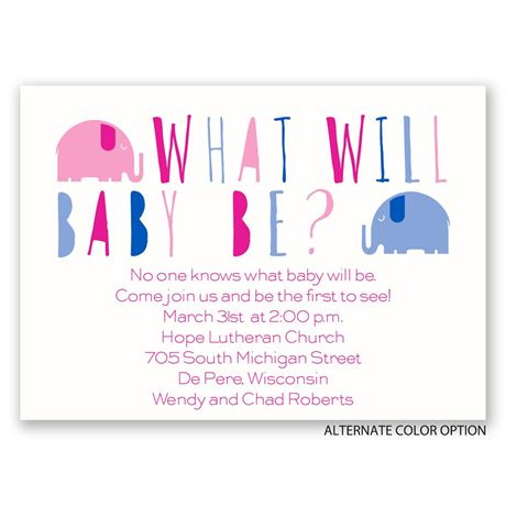 Elephant Fun - Mini Gender Reveal Invitation