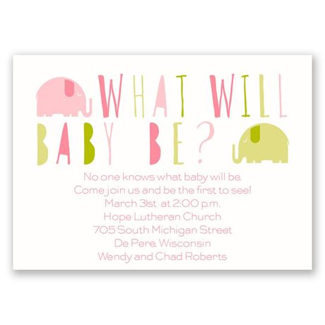 Elephant Fun Mini Gender Reveal Invitation