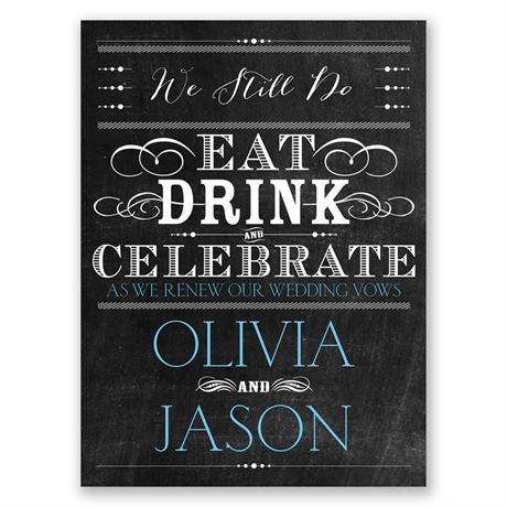 Chalkboard Celebration Petite Vow Renewal Invitation