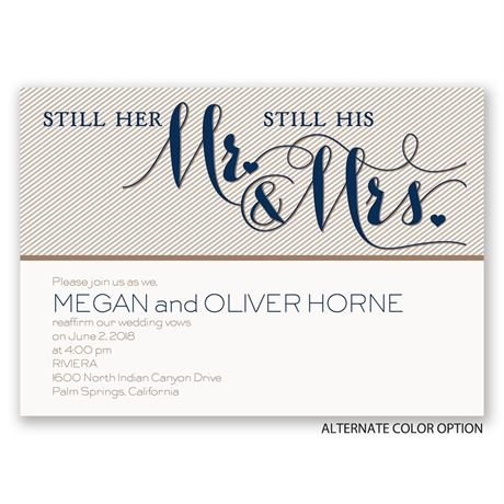 Pinstriped Romance - Vow Renewal Invitation