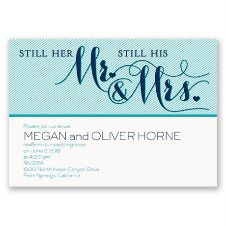 Pinstriped Romance Vow Renewal Invitation