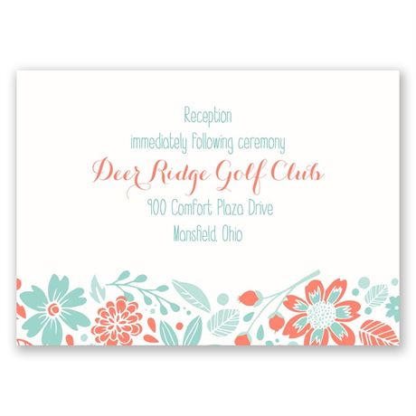 Pretty Little Flowers Reception Card