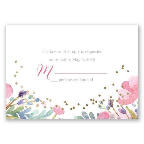Pastel Floral - Gold - Foil Response Card