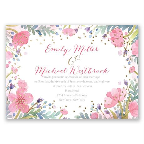 Pastel Floral - Gold - Foil Invitation