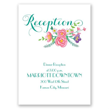 Floral Typography Reception Card