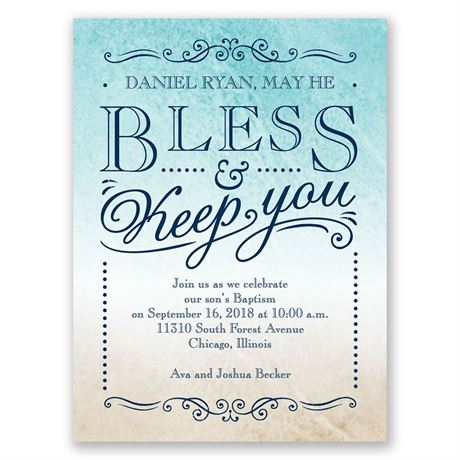 Bless & Keep You Petite Baptism Invitation