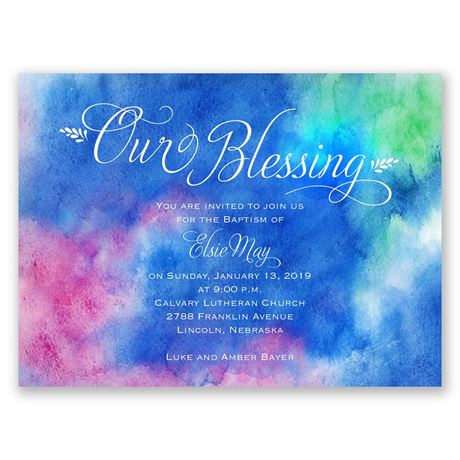 Watercolor Sky Petite Baptism Invitation