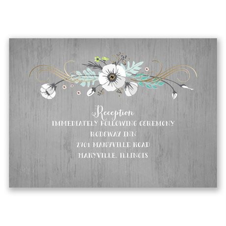 Rustic Floral - Gold - Foil Reception Card