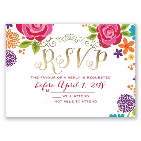 Brilliant Bouquet - Gold - Foil Response Card