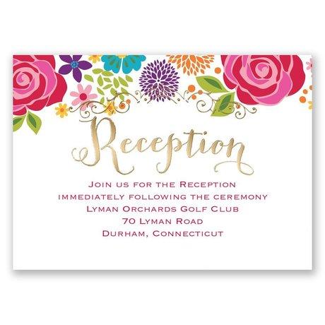 Brilliant Bouquet - Gold - Foil Reception Card