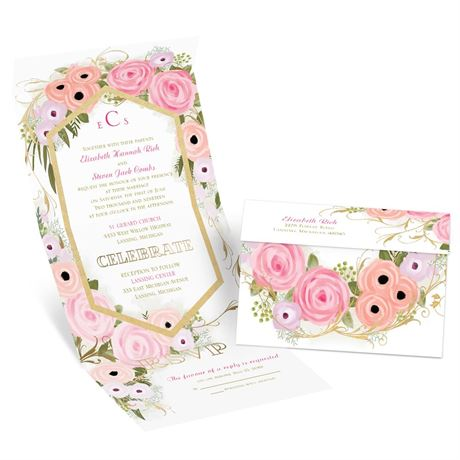 Garden Fresh - Gold - Foil Seal and Send Invitation