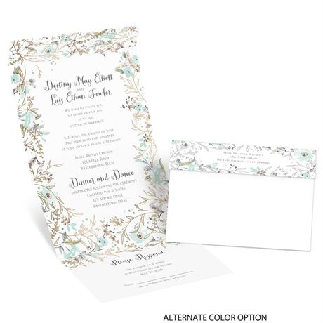 Wildflower Frame - Gold - Foil Seal and Send Invitation