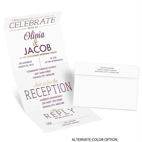 All that Jazz - Gold - Foil Seal and Send Invitation