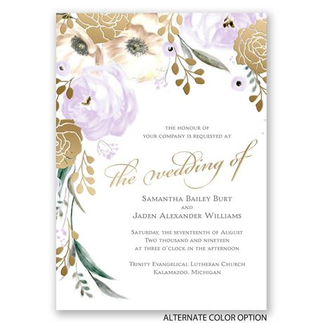 Whimsical Rose - Gold - Foil Invitation
