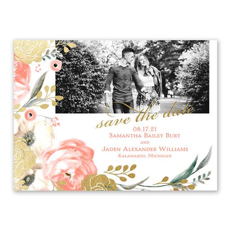 Whimsical Rose - Gold - Foil Save the Date Card