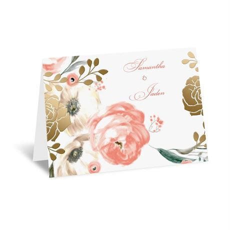 Whimsical Rose - Gold - Foil Thank You Card