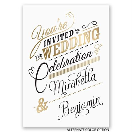 Modern Sparkle - Gold - Foil Invitation