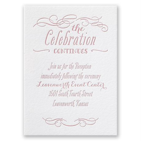 Modern Elegance Letterpress Reception Card