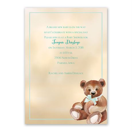 Teddy Bear Classic Baby Shower Invitation