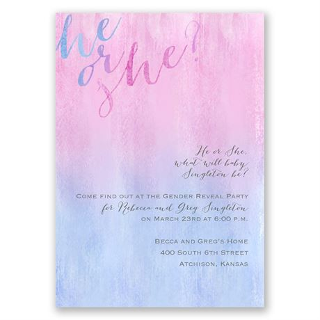 Watercolor Wash - Gender Reveal Invitation