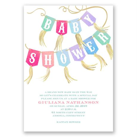 Dots and Tassels Baby Shower Invitation