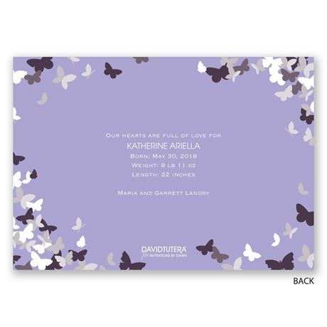 Pretty Butterflies - Gold - Foil Birth Announcement