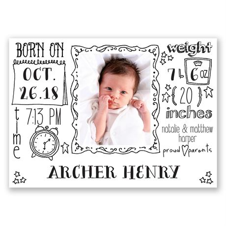 Detailed Doodles Mini Birth Announcement