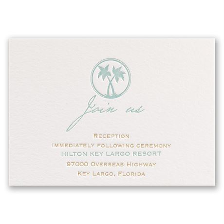 Tropical Chic Letterpress Reception Card