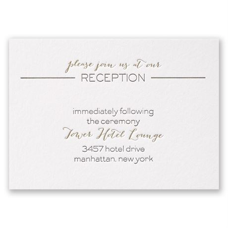 Bold & Gold Letterpress Reception Card