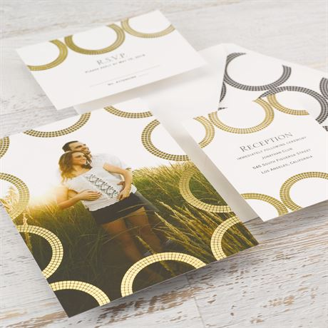 Mosaic Rings - Gold - Foil Invitation