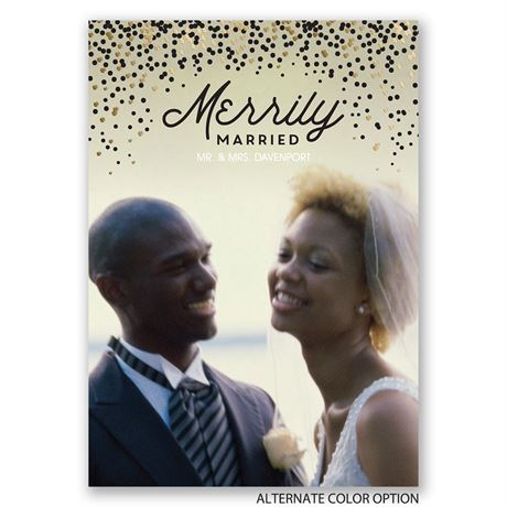 Merrily Married - Gold Foil - Holiday Card