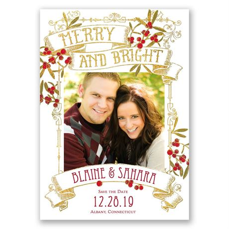 Berry Merry Faux Foil Holiday Card Save the Date
