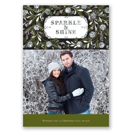 Sparkle and Shine Faux Glitter Holiday Card Save the Date