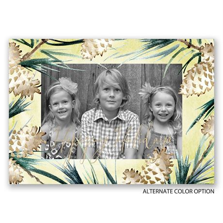 Frosted Pine Cones - Gold Foil - Holiday Card