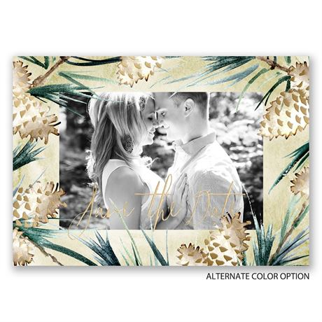 Frosted Pine Cones - Gold Foil - Holiday Card Save the Date
