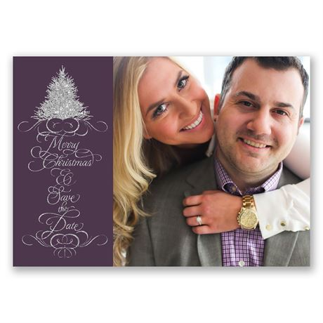 Silver Wishes Faux Glitter Holiday Card Save the Date