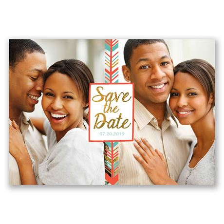 Modern Chevron Faux Foil Holiday Card Save the Date